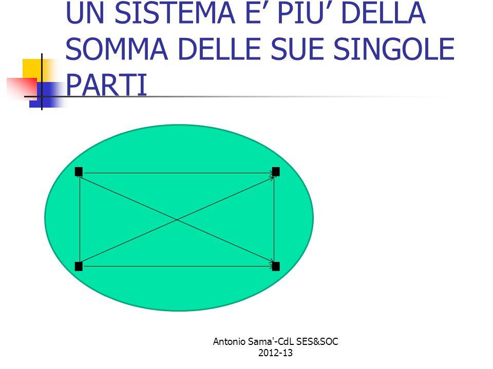 UN SISTEMA E' PIU' DELLA SOMMA DELLE SUE SINGOLE PARTI.. Antonio Sama -CdL SES&SOC 2012-13