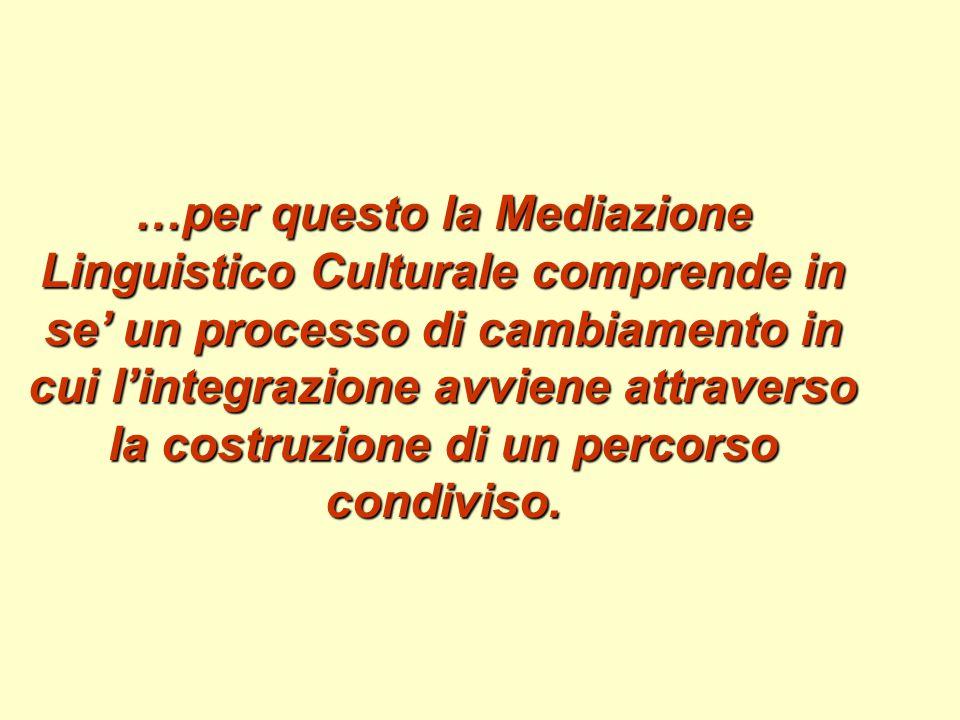 …per questo la Mediazione Linguistico Culturale comprende in se' un processo di cambiamento in cui l'integrazione avviene attraverso la costruzione di un percorso condiviso.