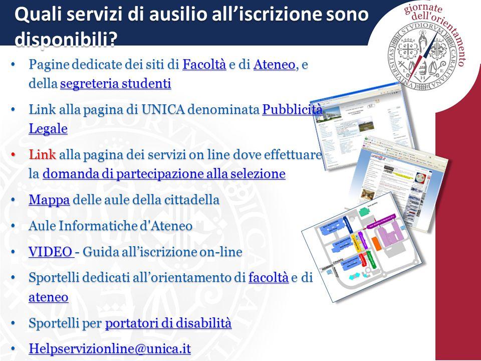 Quali servizi di ausilio all'iscrizione sono disponibili.