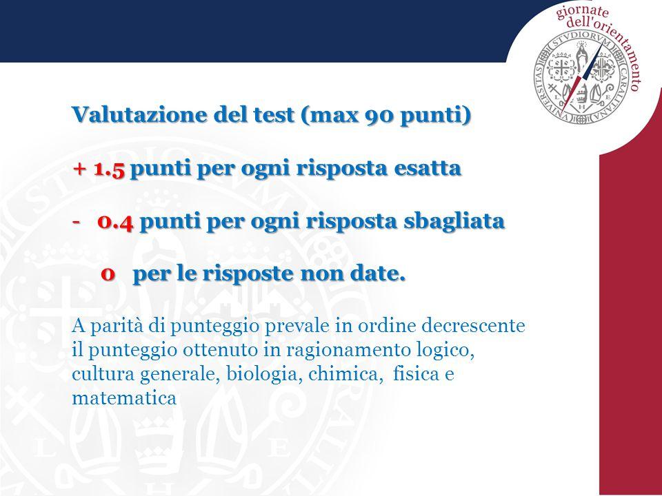 Valutazione del test (max 90 punti) + 1.5 punti per ogni risposta esatta -0.4 punti per ogni risposta sbagliata 0 per le risposte non date.