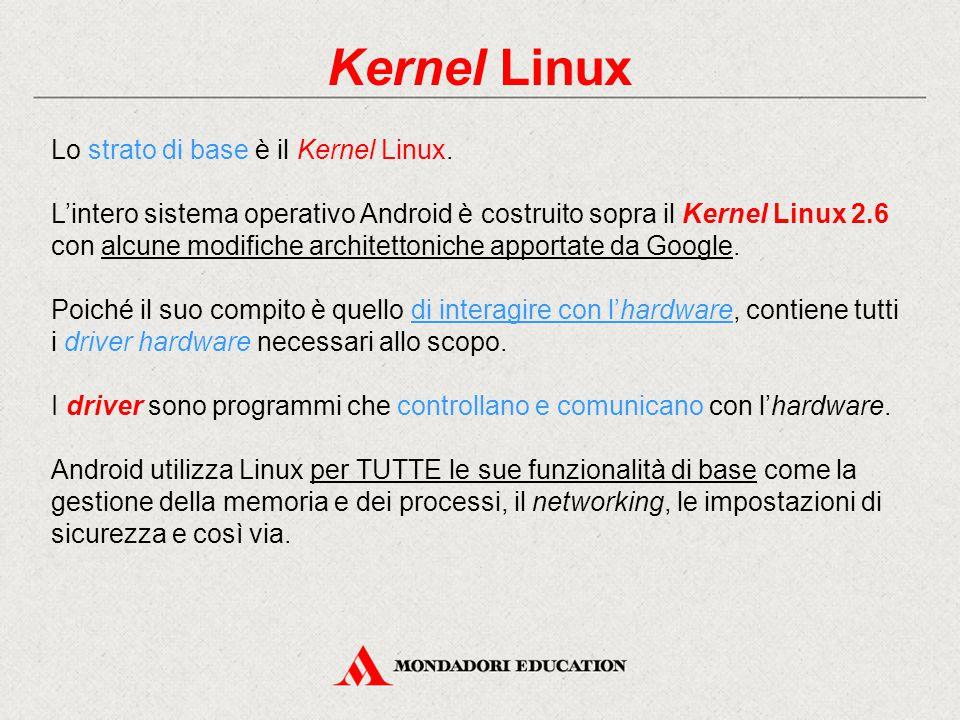 Kernel Linux Lo strato di base è il Kernel Linux.