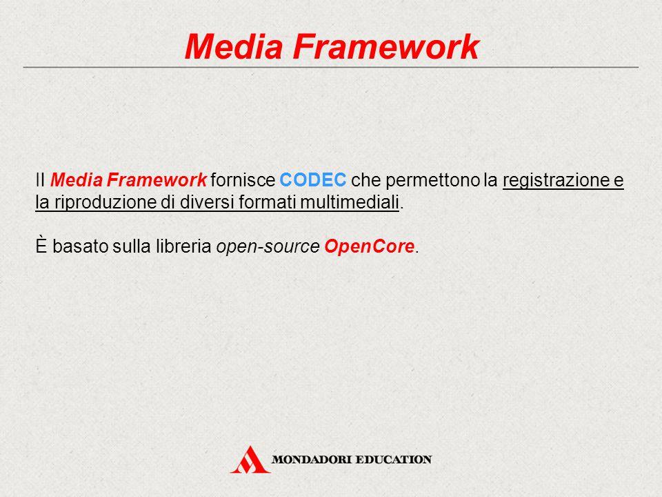 Media Framework Il Media Framework fornisce CODEC che permettono la registrazione e la riproduzione di diversi formati multimediali.