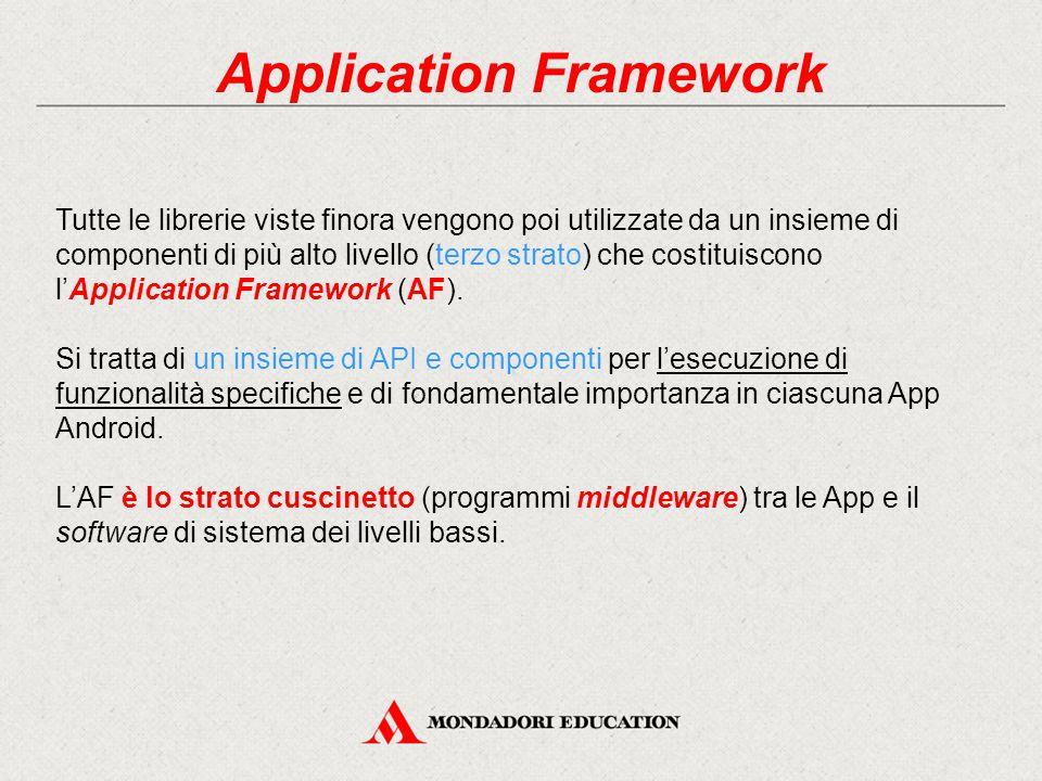 Application Framework Tutte le librerie viste finora vengono poi utilizzate da un insieme di componenti di più alto livello (terzo strato) che costituiscono l'Application Framework (AF).