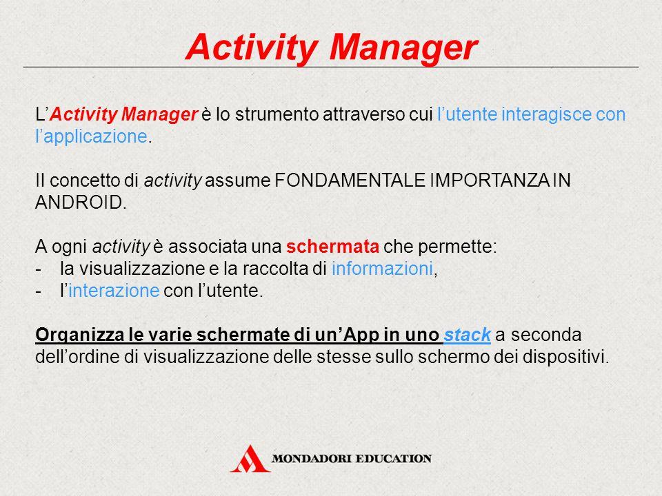 Activity Manager L'Activity Manager è lo strumento attraverso cui l'utente interagisce con l'applicazione.