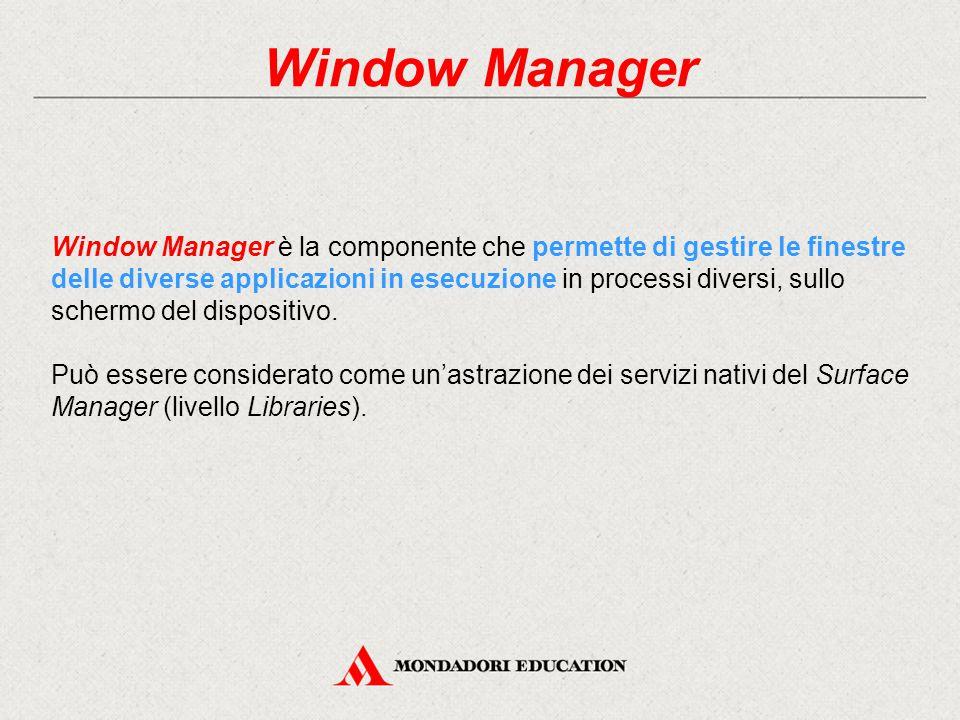 Window Manager Window Manager è la componente che permette di gestire le finestre delle diverse applicazioni in esecuzione in processi diversi, sullo schermo del dispositivo.