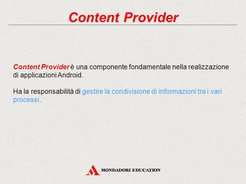 Content Provider Content Provider è una componente fondamentale nella realizzazione di applicazioni Android.