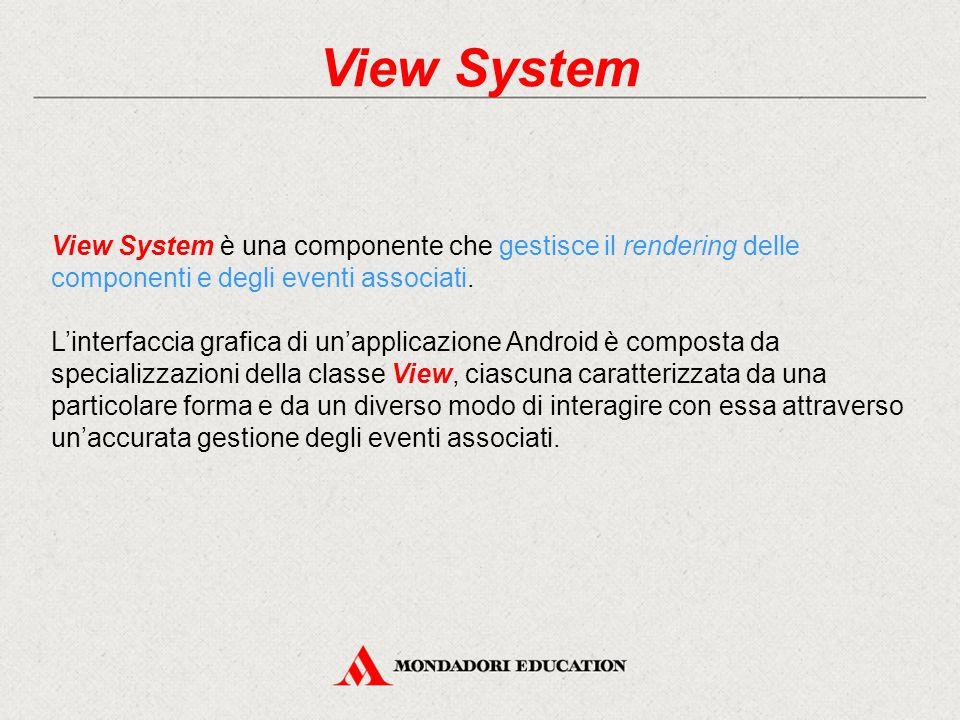 View System View System è una componente che gestisce il rendering delle componenti e degli eventi associati.
