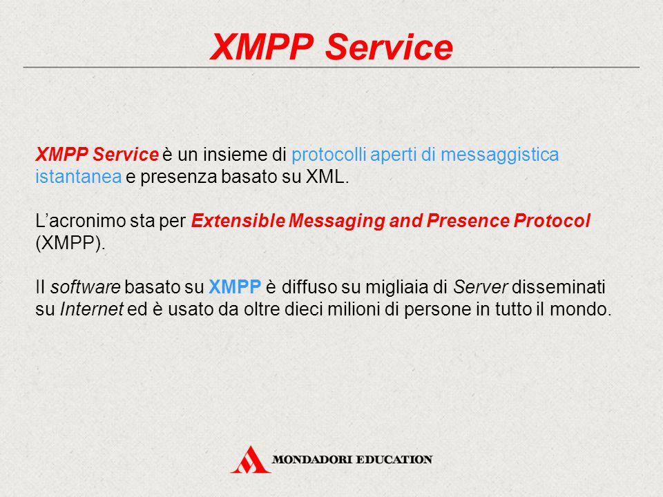 XMPP Service XMPP Service è un insieme di protocolli aperti di messaggistica istantanea e presenza basato su XML.