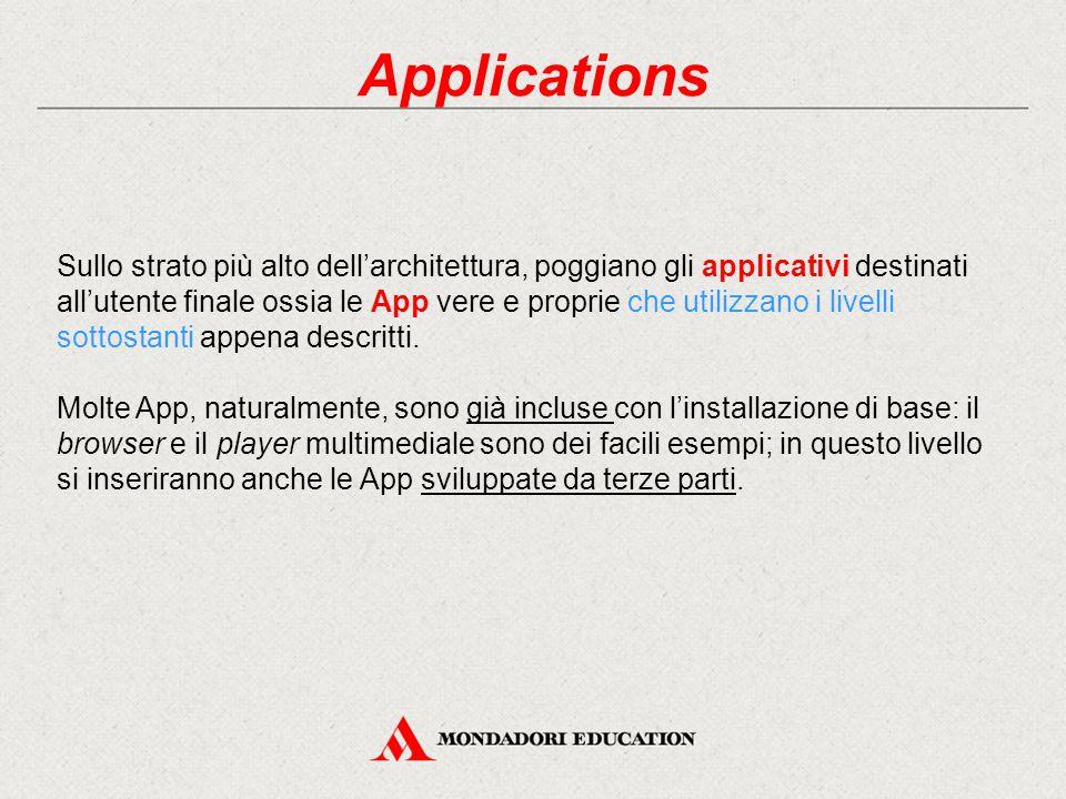 Applications Sullo strato più alto dell'architettura, poggiano gli applicativi destinati all'utente finale ossia le App vere e proprie che utilizzano i livelli sottostanti appena descritti.