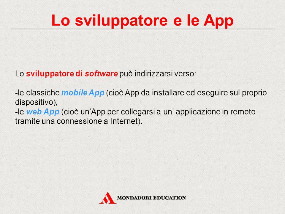 Lo sviluppatore e le App Lo sviluppatore di software può indirizzarsi verso: -le classiche mobile App (cioè App da installare ed eseguire sul proprio dispositivo), -le web App (cioè un'App per collegarsi a un' applicazione in remoto tramite una connessione a Internet).