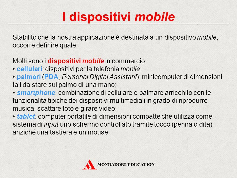 I dispositivi mobile Stabilito che la nostra applicazione è destinata a un dispositivo mobile, occorre definire quale.