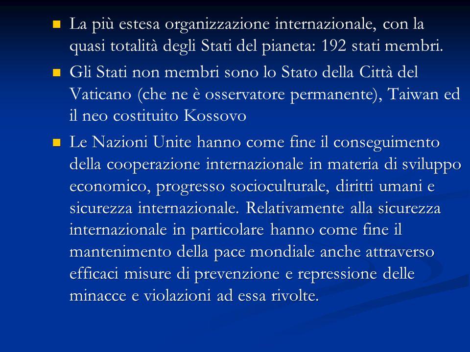 La più estesa organizzazione internazionale, con la quasi totalità degli Stati del pianeta: 192 stati membri. Gli Stati non membri sono lo Stato della