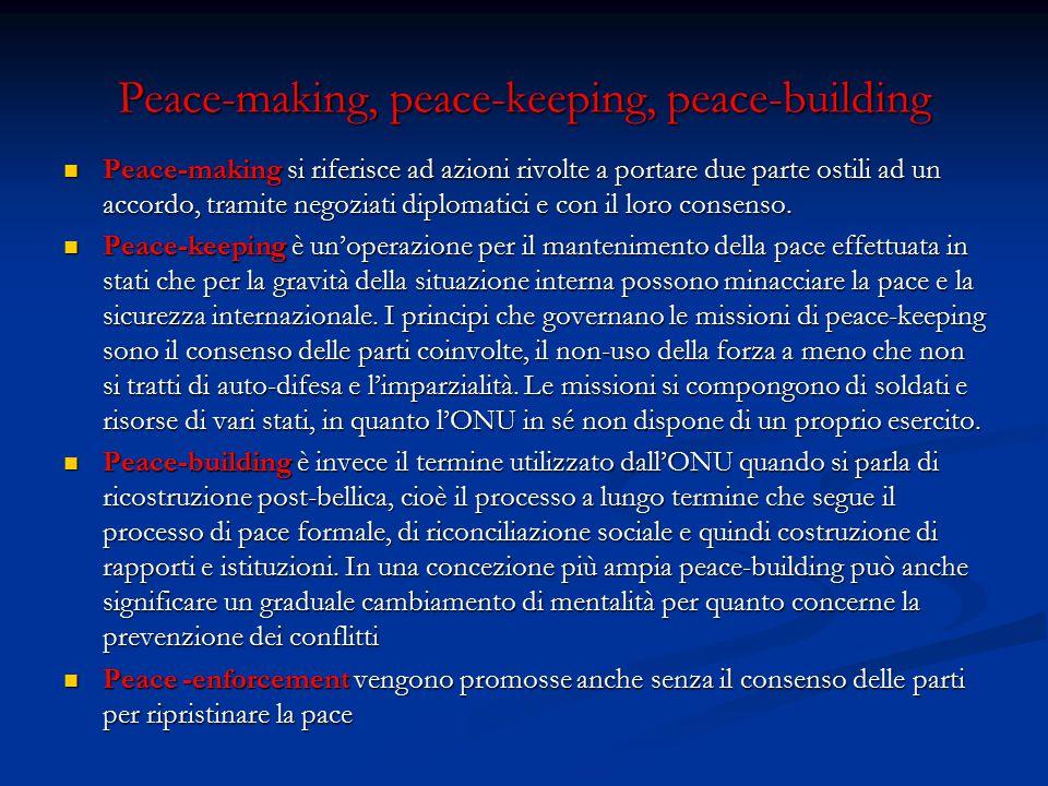 Peace-making, peace-keeping, peace-building Peace-making si riferisce ad azioni rivolte a portare due parte ostili ad un accordo, tramite negoziati diplomatici e con il loro consenso.