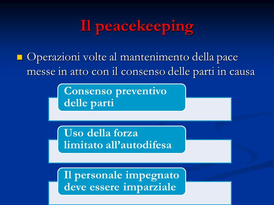Il peacekeeping Operazioni volte al mantenimento della pace messe in atto con il consenso delle parti in causa Operazioni volte al mantenimento della pace messe in atto con il consenso delle parti in causa Consenso preventivo delle parti Uso della forza limitato all'autodifesa Il personale impegnato deve essere imparziale
