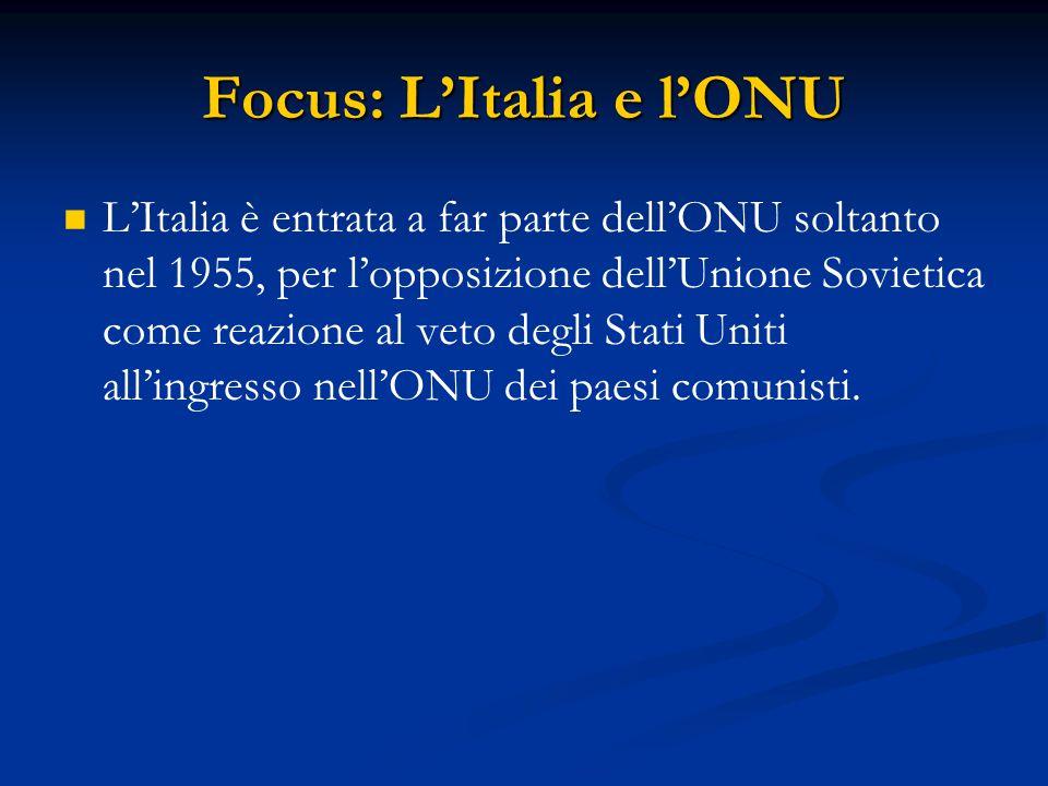 Focus: L'Italia e l'ONU L'Italia è entrata a far parte dell'ONU soltanto nel 1955, per l'opposizione dell'Unione Sovietica come reazione al veto degli Stati Uniti all'ingresso nell'ONU dei paesi comunisti.