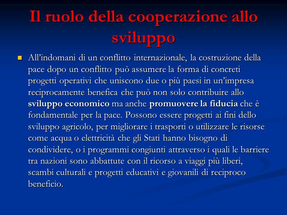 Il ruolo della cooperazione allo sviluppo All'indomani di un conflitto internazionale, la costruzione della pace dopo un conflitto può assumere la for