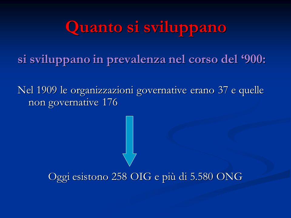 Quanto si sviluppano si sviluppano in prevalenza nel corso del '900: Nel 1909 le organizzazioni governative erano 37 e quelle non governative 176 Oggi esistono 258 OIG e più di 5.580 ONG