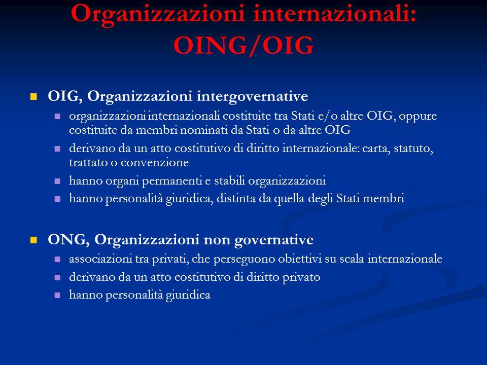 Organizzazioni internazionali: OING/OIG OIG, Organizzazioni intergovernative organizzazioni internazionali costituite tra Stati e/o altre OIG, oppure