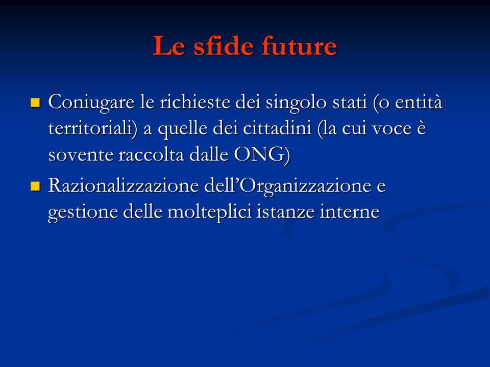 Le sfide future Coniugare le richieste dei singolo stati (o entità territoriali) a quelle dei cittadini (la cui voce è sovente raccolta dalle ONG) Con
