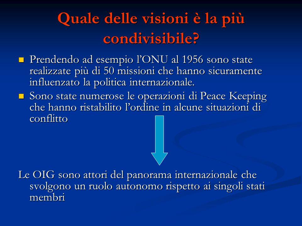 Quale delle visioni è la più condivisibile? Prendendo ad esempio l'ONU al 1956 sono state realizzate più di 50 missioni che hanno sicuramente influenz