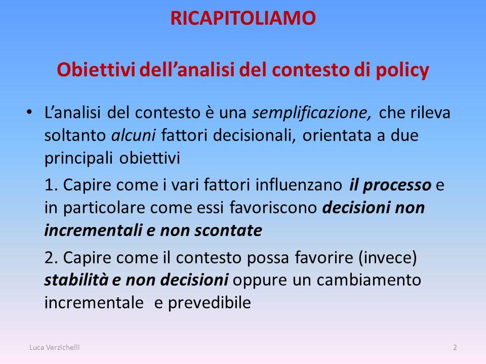 RICAPITOLIAMO Obiettivi dell'analisi del contesto di policy L'analisi del contesto è una semplificazione, che rileva soltanto alcuni fattori decisionali, orientata a due principali obiettivi 1.