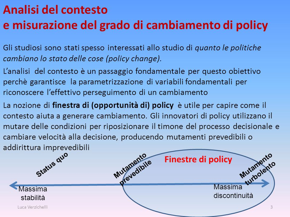 Finestre di policy Analisi del contesto e misurazione del grado di cambiamento di policy Gli studiosi sono stati spesso interessati allo studio di quanto le politiche cambiano lo stato delle cose (policy change).