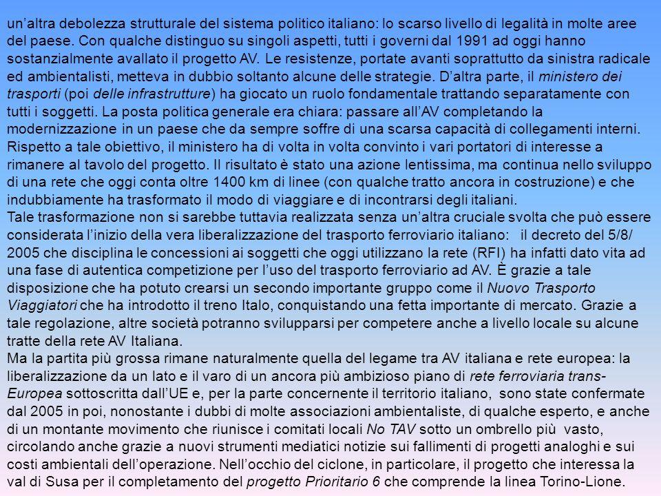un'altra debolezza strutturale del sistema politico italiano: lo scarso livello di legalità in molte aree del paese.