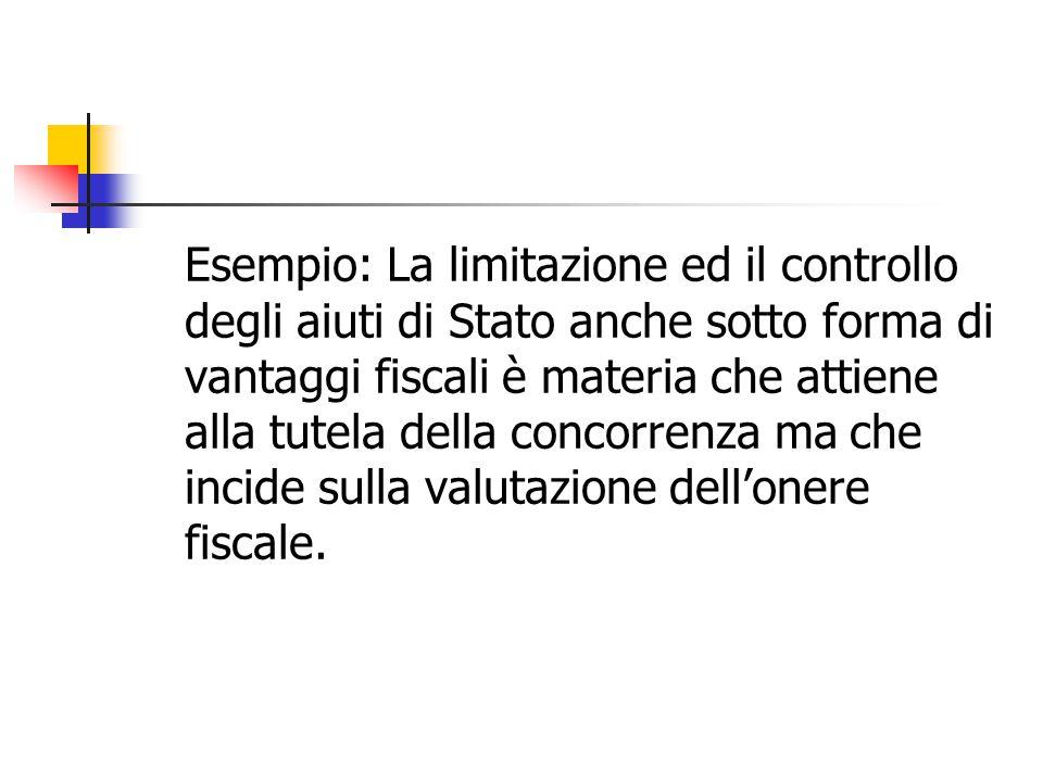 Esempio: La limitazione ed il controllo degli aiuti di Stato anche sotto forma di vantaggi fiscali è materia che attiene alla tutela della concorrenza