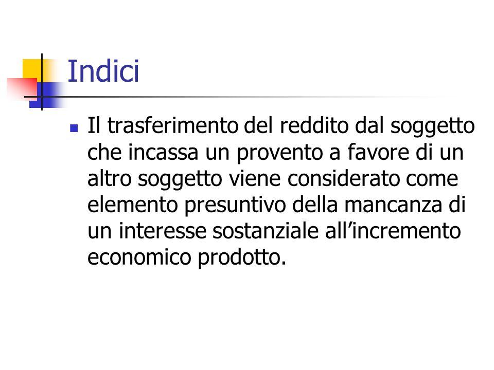 Indici Il trasferimento del reddito dal soggetto che incassa un provento a favore di un altro soggetto viene considerato come elemento presuntivo dell