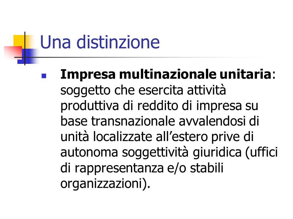 Una distinzione Impresa multinazionale unitaria: soggetto che esercita attività produttiva di reddito di impresa su base transnazionale avvalendosi di