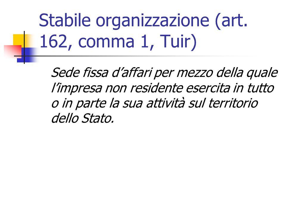 Stabile organizzazione (art. 162, comma 1, Tuir) Sede fissa d'affari per mezzo della quale l'impresa non residente esercita in tutto o in parte la sua
