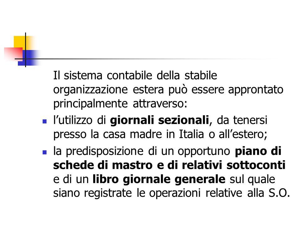 Il sistema contabile della stabile organizzazione estera può essere approntato principalmente attraverso: l'utilizzo di giornali sezionali, da tenersi
