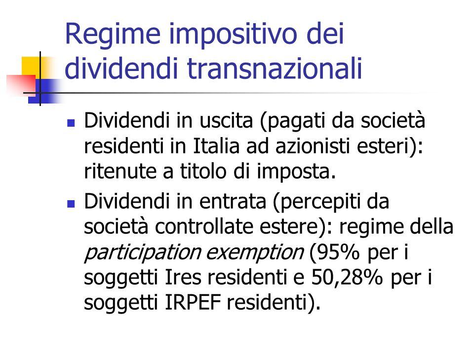 Regime impositivo dei dividendi transnazionali Dividendi in uscita (pagati da società residenti in Italia ad azionisti esteri): ritenute a titolo di i