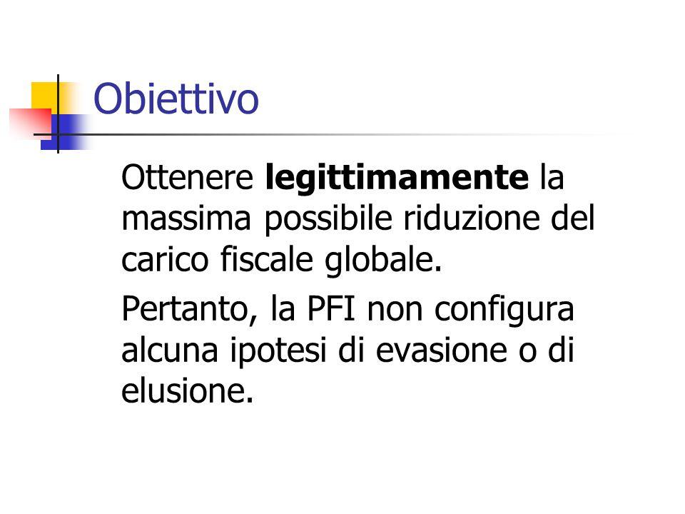 Obiettivo Ottenere legittimamente la massima possibile riduzione del carico fiscale globale. Pertanto, la PFI non configura alcuna ipotesi di evasione