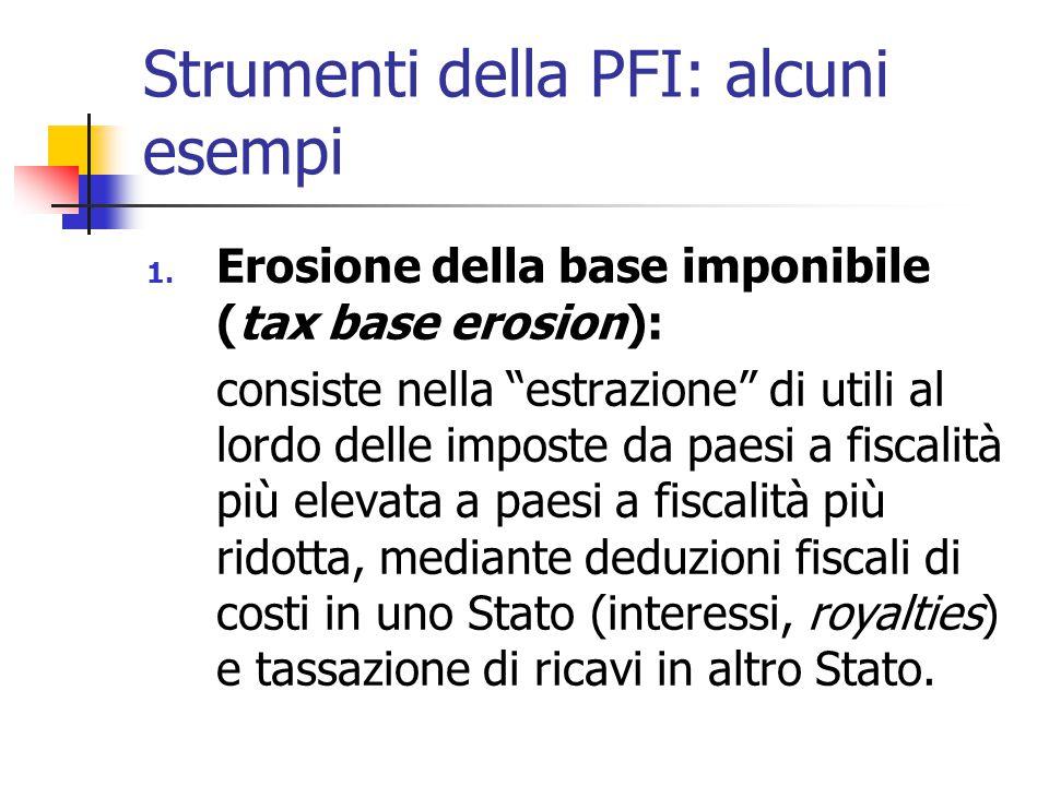 """Strumenti della PFI: alcuni esempi 1. Erosione della base imponibile (tax base erosion): consiste nella """"estrazione"""" di utili al lordo delle imposte d"""
