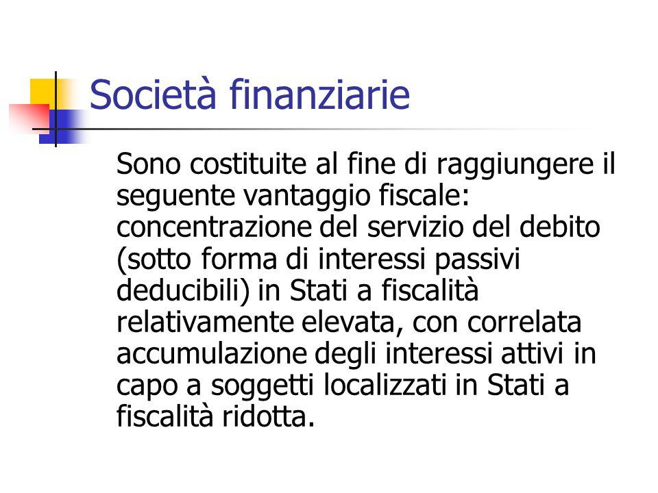 Società finanziarie Sono costituite al fine di raggiungere il seguente vantaggio fiscale: concentrazione del servizio del debito (sotto forma di inter