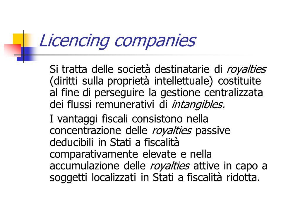Licencing companies Si tratta delle società destinatarie di royalties (diritti sulla proprietà intellettuale) costituite al fine di perseguire la gest