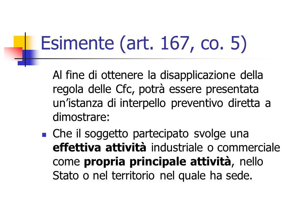 Esimente (art. 167, co. 5) Al fine di ottenere la disapplicazione della regola delle Cfc, potrà essere presentata un'istanza di interpello preventivo