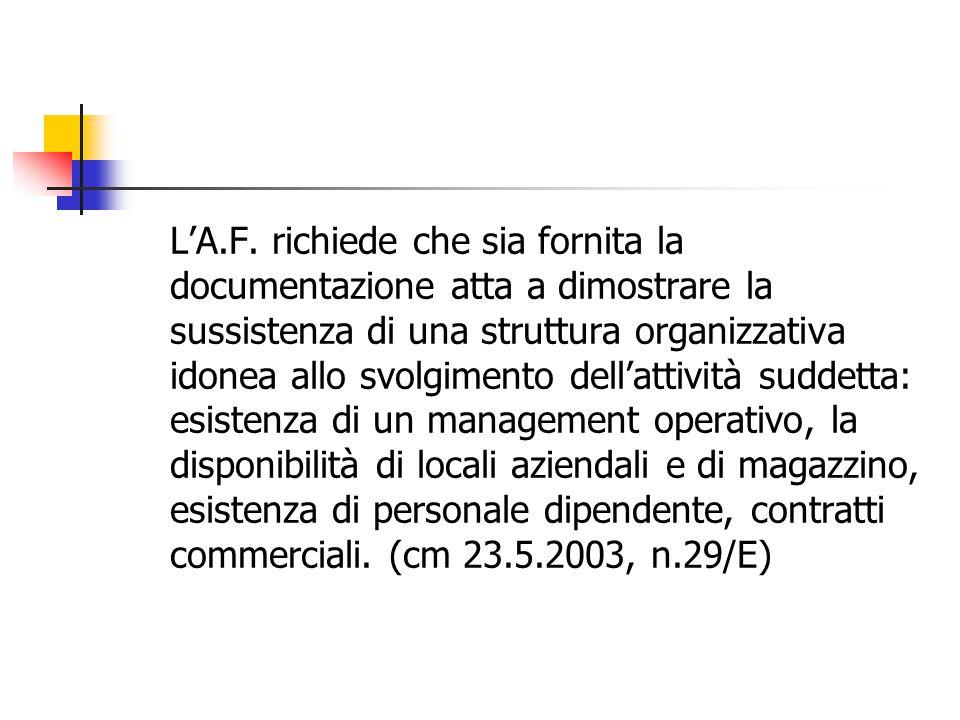 L'A.F. richiede che sia fornita la documentazione atta a dimostrare la sussistenza di una struttura organizzativa idonea allo svolgimento dell'attivit