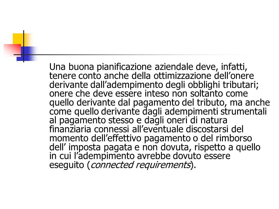 PFI come parte della pianificazione aziendale Effettuare la pianificazione fiscale delle imprese o dei gruppi di imprese significa: 1.