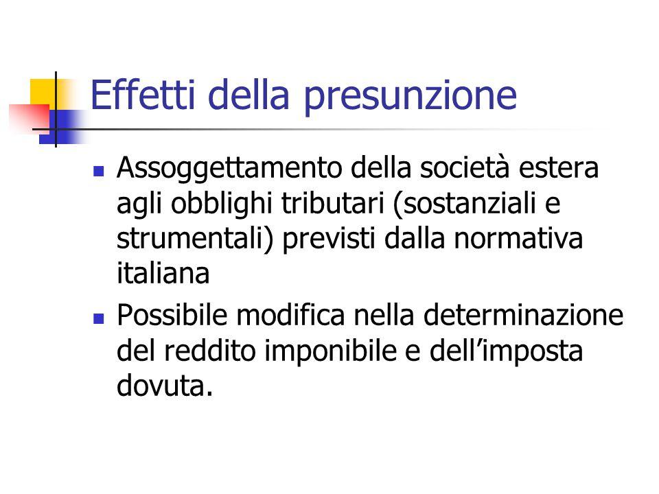 Effetti della presunzione Assoggettamento della società estera agli obblighi tributari (sostanziali e strumentali) previsti dalla normativa italiana P