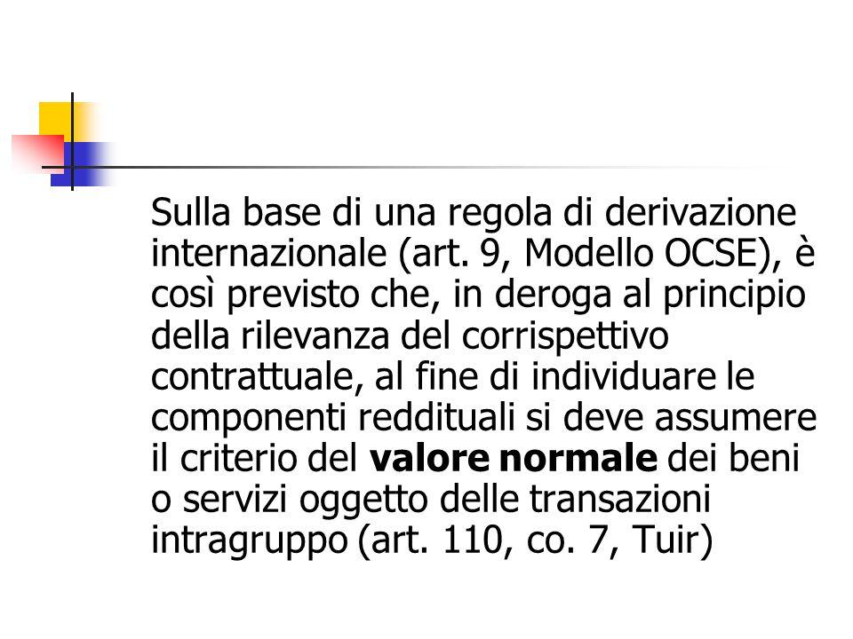 Sulla base di una regola di derivazione internazionale (art. 9, Modello OCSE), è così previsto che, in deroga al principio della rilevanza del corrisp