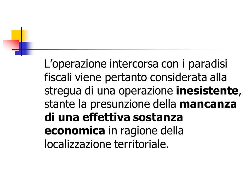 L'operazione intercorsa con i paradisi fiscali viene pertanto considerata alla stregua di una operazione inesistente, stante la presunzione della manc
