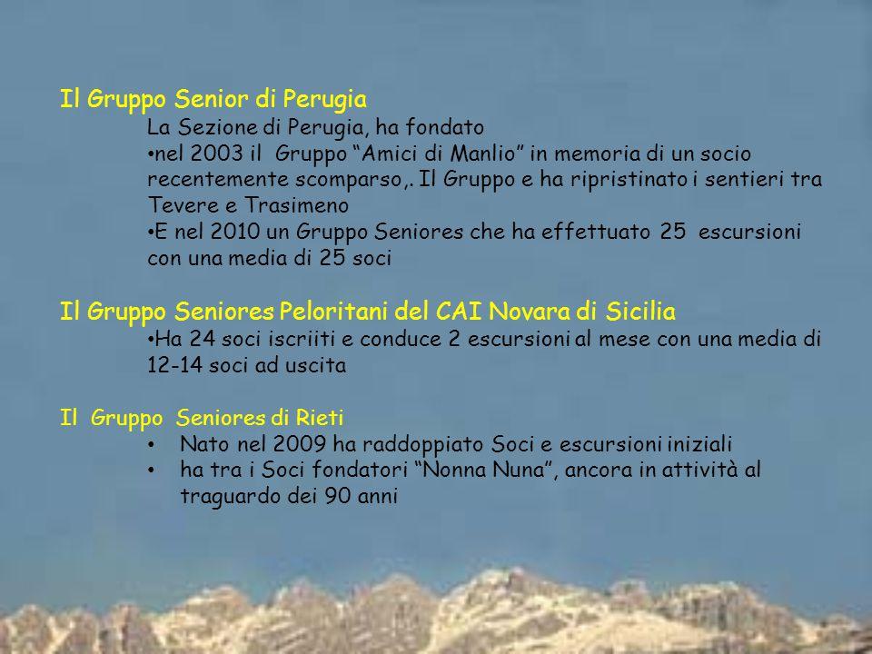 Il Gruppo Senior di Perugia La Sezione di Perugia, ha fondato nel 2003 il Gruppo Amici di Manlio in memoria di un socio recentemente scomparso,.