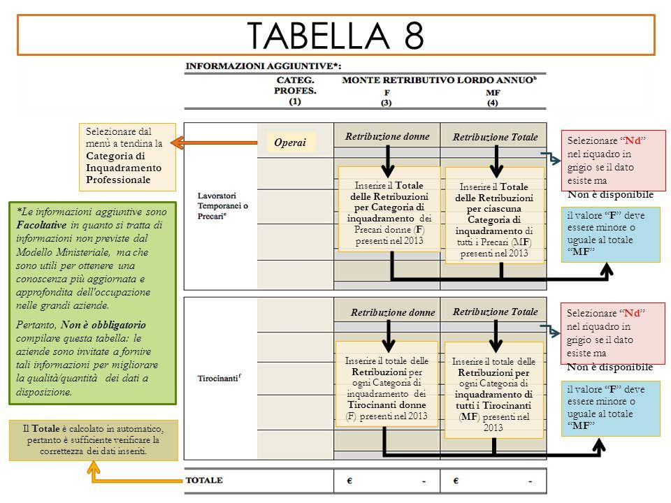 TABELLA 8 *Le informazioni aggiuntive sono Facoltative in quanto si tratta di informazioni non previste dal Modello Ministeriale, ma che sono utili pe