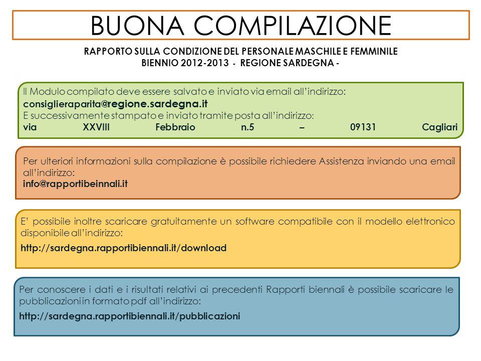 BUONA COMPILAZIONE RAPPORTO SULLA CONDIZIONE DEL PERSONALE MASCHILE E FEMMINILE BIENNIO 2012-2013 - REGIONE SARDEGNA - NORMATIVA Il Modulo compilato d