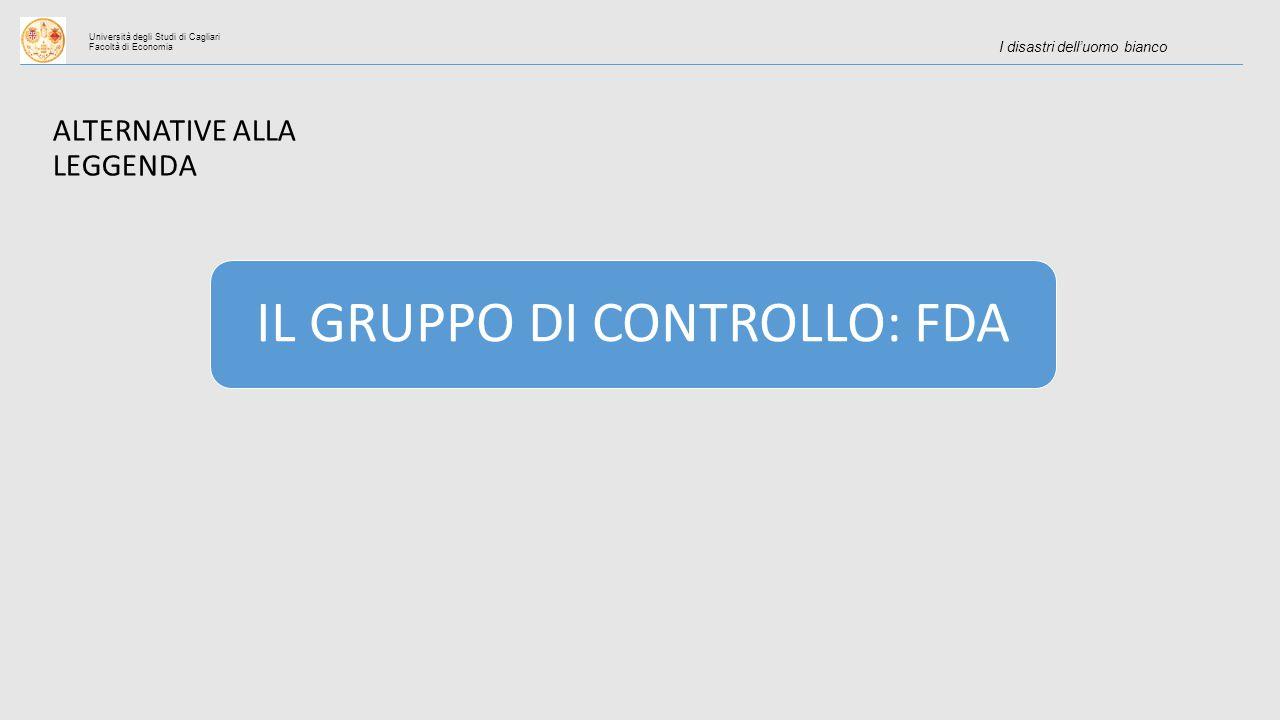 Università degli Studi di Cagliari Facoltà di Economia I disastri dell'uomo bianco IL GRUPPO DI CONTROLLO: FDA ALTERNATIVE ALLA LEGGENDA
