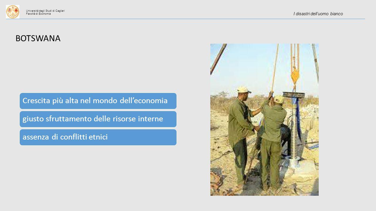 Università degli Studi di Cagliari Facoltà di Economia I disastri dell'uomo bianco BOTSWANA Crescita più alta nel mondo dell'economiagiusto sfruttamento delle risorse interneassenza di conflitti etnici