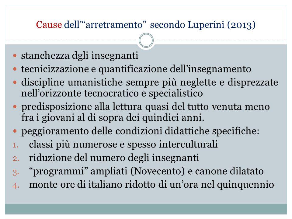 """Cause dell'""""arretramento"""" secondo Luperini (2013) stanchezza dgli insegnanti tecnicizzazione e quantificazione dell'insegnamento discipline umanistich"""