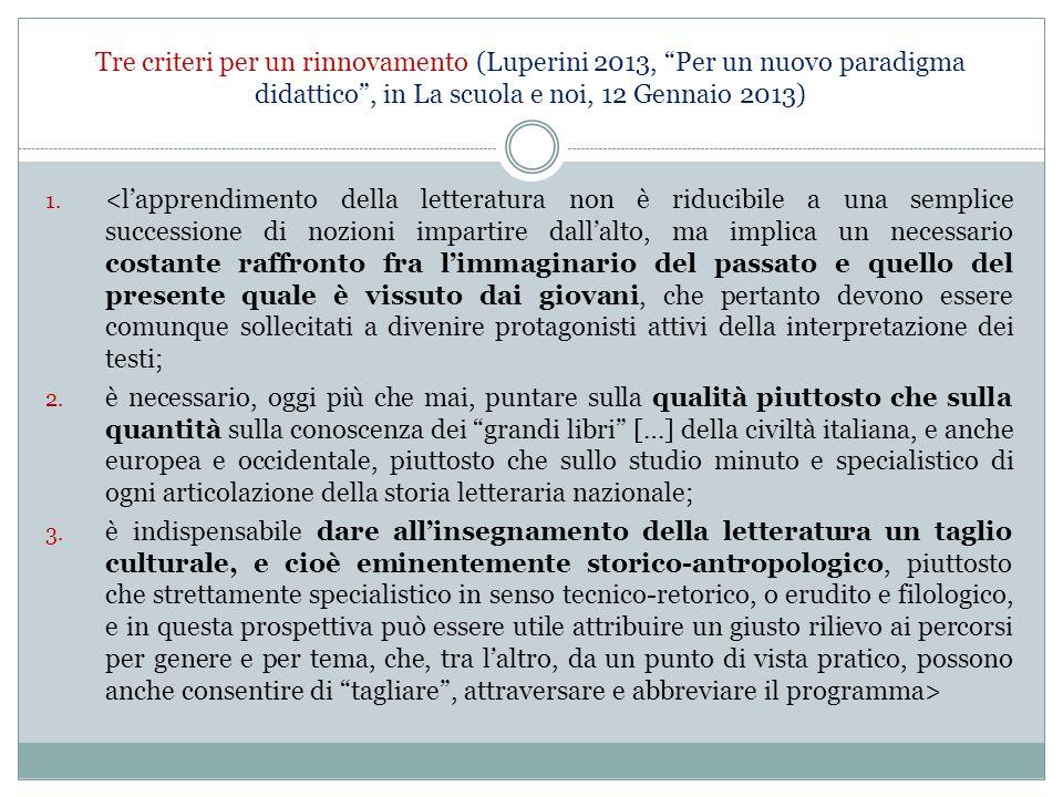 """Tre criteri per un rinnovamento (Luperini 2013, """"Per un nuovo paradigma didattico"""", in La scuola e noi, 12 Gennaio 2013) 1. <l'apprendimento della let"""